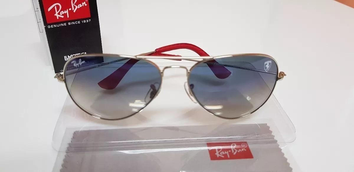 5a276309383bb Óculos De Sol Ray-ban Aviator Scuderia Ferrari Azul Degradê. - R ...