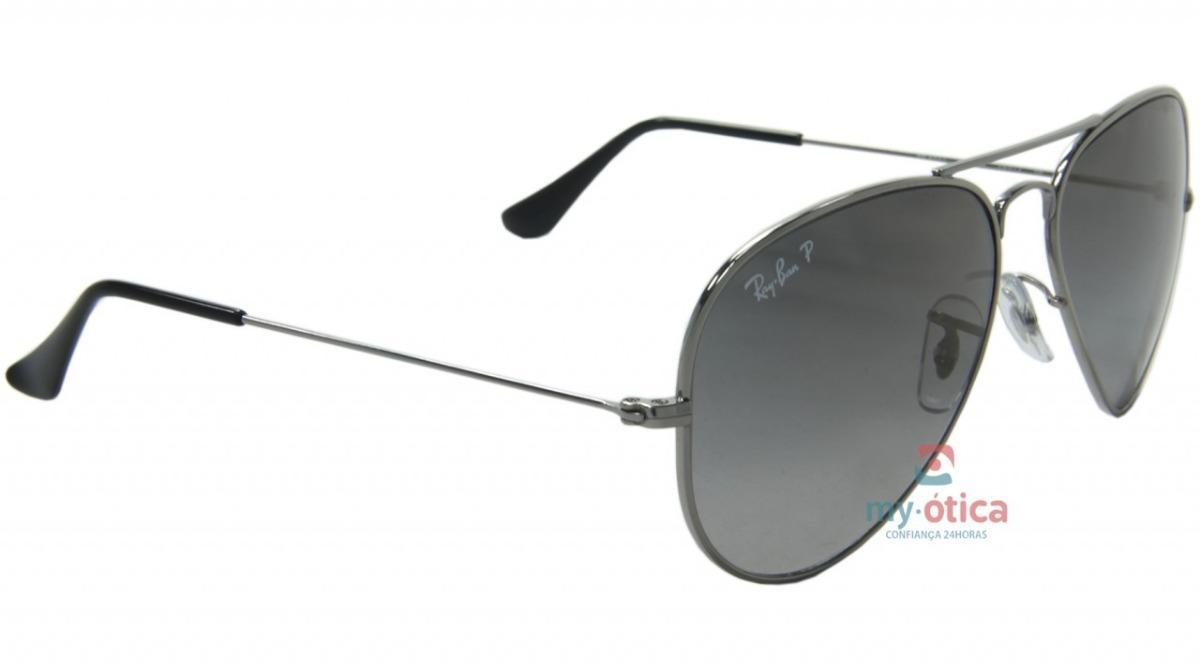 9ba6f5cf36841 Óculos De Sol Ray Ban Aviator Titanium - Cinza E Preto C Nfe - R ...