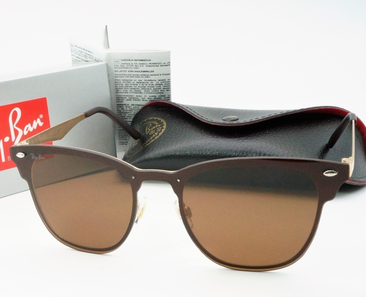 3ec0cd2f3 óculos de sol ray ban clubmaster blaze marrom lançamento. Carregando zoom.