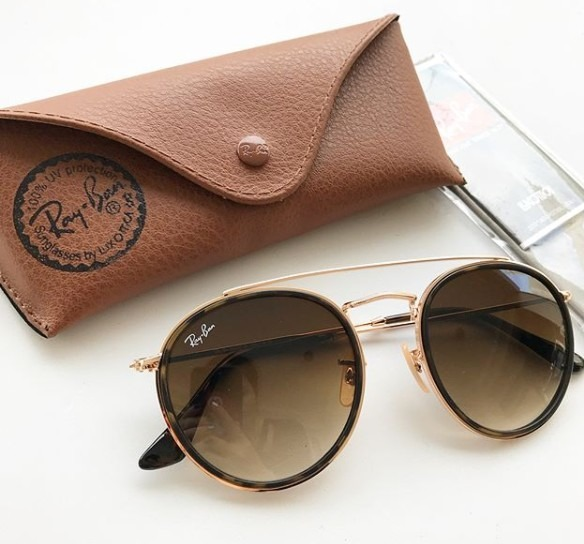 8fa6c880ce2d4 Óculos De Sol Ray Ban Double Bridge Original Marrom Degradê - R  349 ...