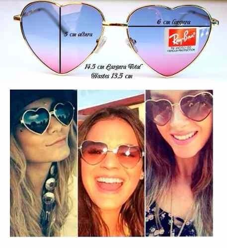 d7448a654 Óculos De Sol Ray Ban Em Coração - R$ 60,00 em Mercado Livre
