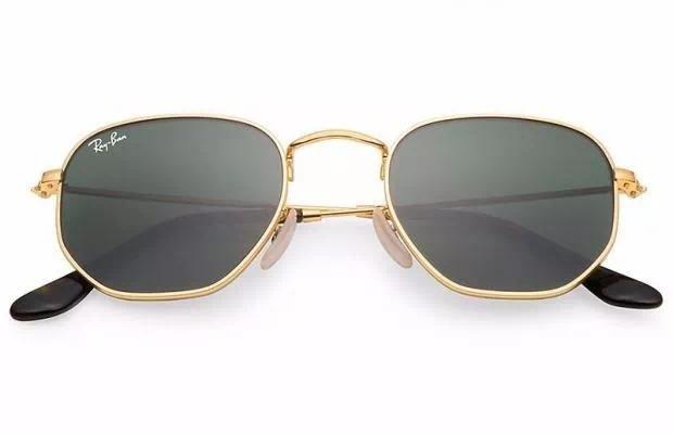 d0d154734494b Óculos De Sol Ray Ban Hexagonal Dourado   Lente Verde Rb3548 - R  269