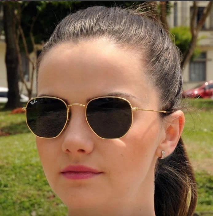 486fa5ca02765 Óculos De Sol Ray Ban Hexagonal Dourado   Lente Verde Rb3548 - R ...