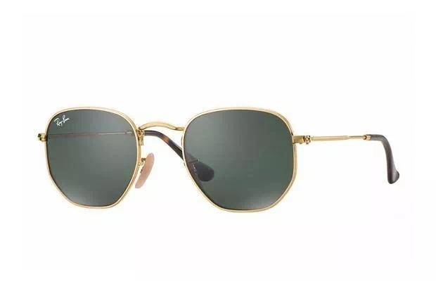 6624b6584010d Óculos De Sol Ray Ban Hexagonal Dourado Lentes Classica - U - R  309 ...