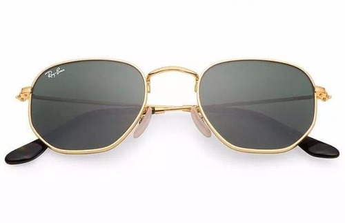 84c045e412fae Óculos De Sol Ray Ban Hexagonal Dourado Rb3548 Original - R  269,49 em  Mercado Livre