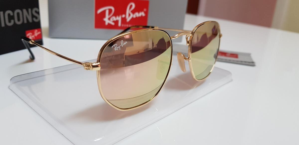 cd3ae85b5acb3 Óculos De Sol Ray-ban Hexagonal Metal Rb3548n Rosê Espelhado - R ...
