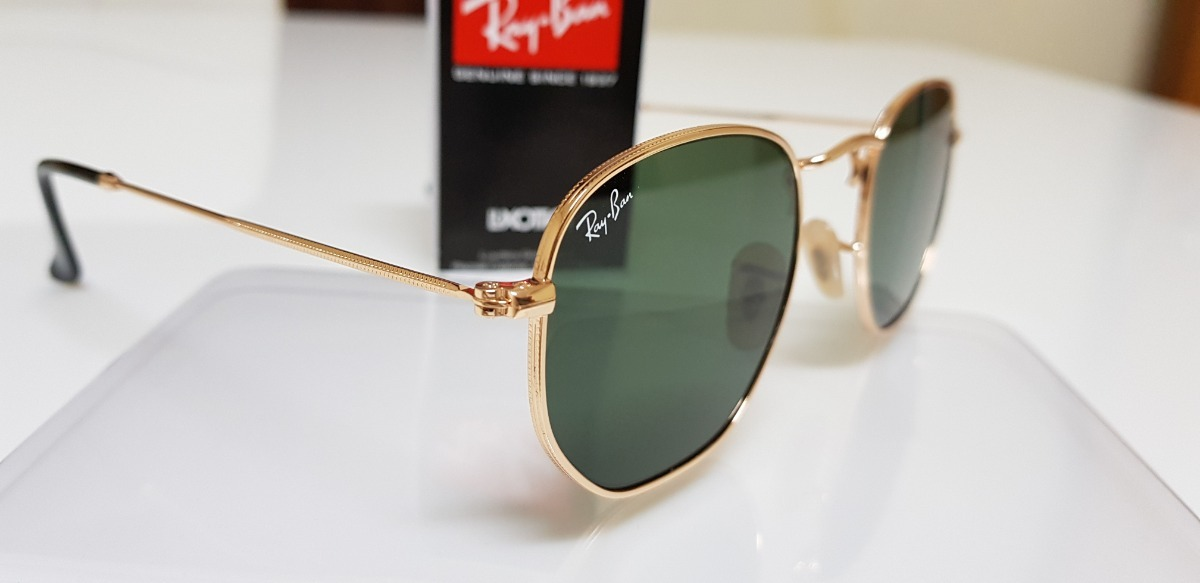 Óculos De Sol Ray-ban Hexagonal Metal Rb3548n Verde G15 001 - R  290 ... 44d1aeb798