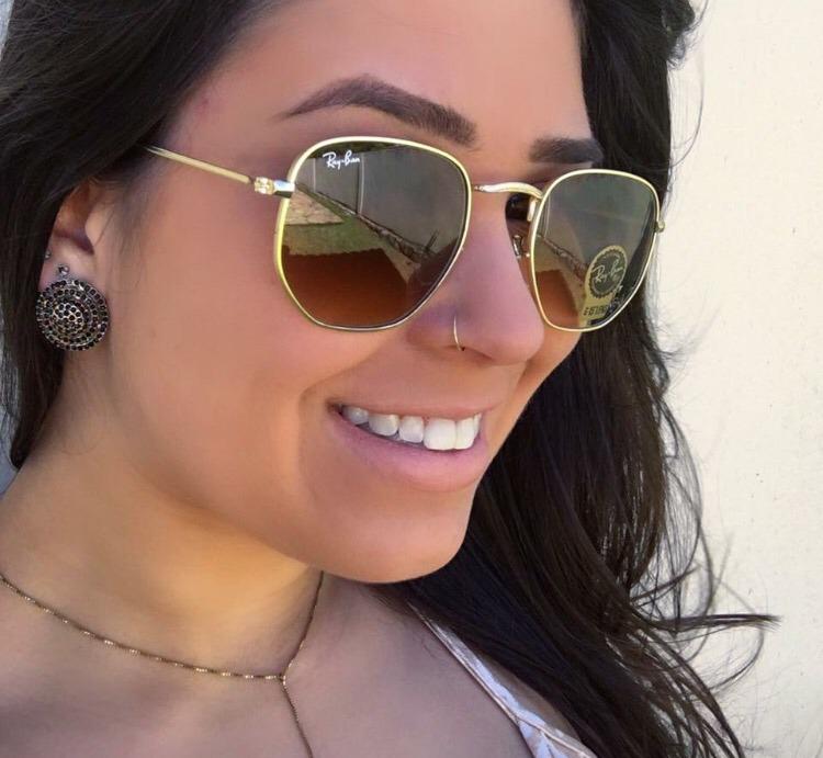 c833019309190 Oculos De Sol Ray Ban Hexagonal Outlet Cores - R  129,00 em Mercado