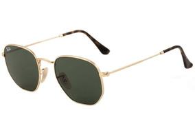 cbc6aee63 Óculos De Sol Ray-ban Hexagonal Preto C/dourado Feminino Top
