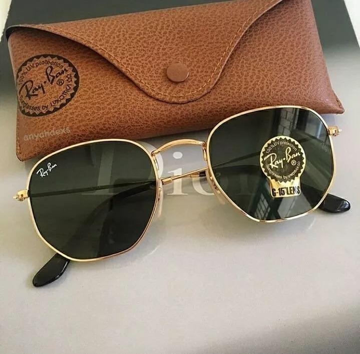 b2cf81d5a6158 Oculos De Sol Ray-ban Hexagonal Preto C dourado Feminino Top - R ...