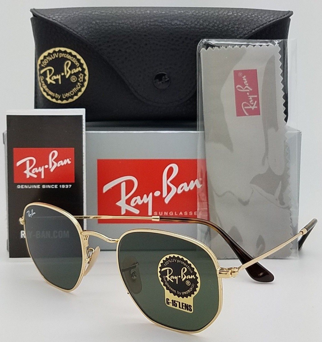823d2e085fd1b Oculos De Sol Ray Ban Hexagonal Rb3548 Grande 54mm G15 - R  300,00 ...