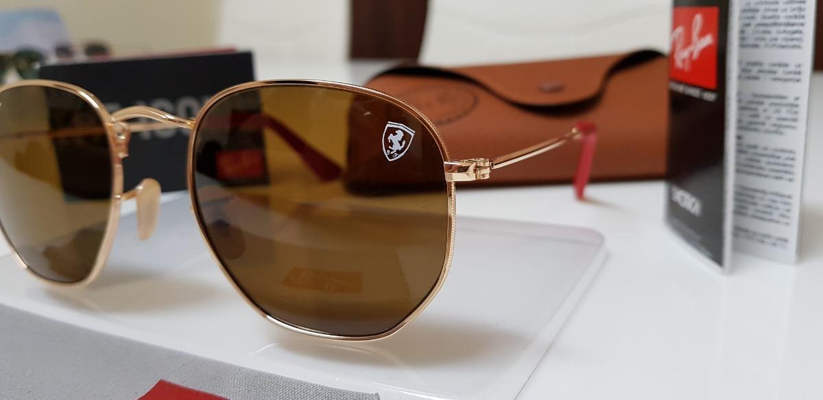 084bddbf3 óculos de sol ray-ban hexagonal rb3548 marrom ferrari grande. Carregando  zoom.