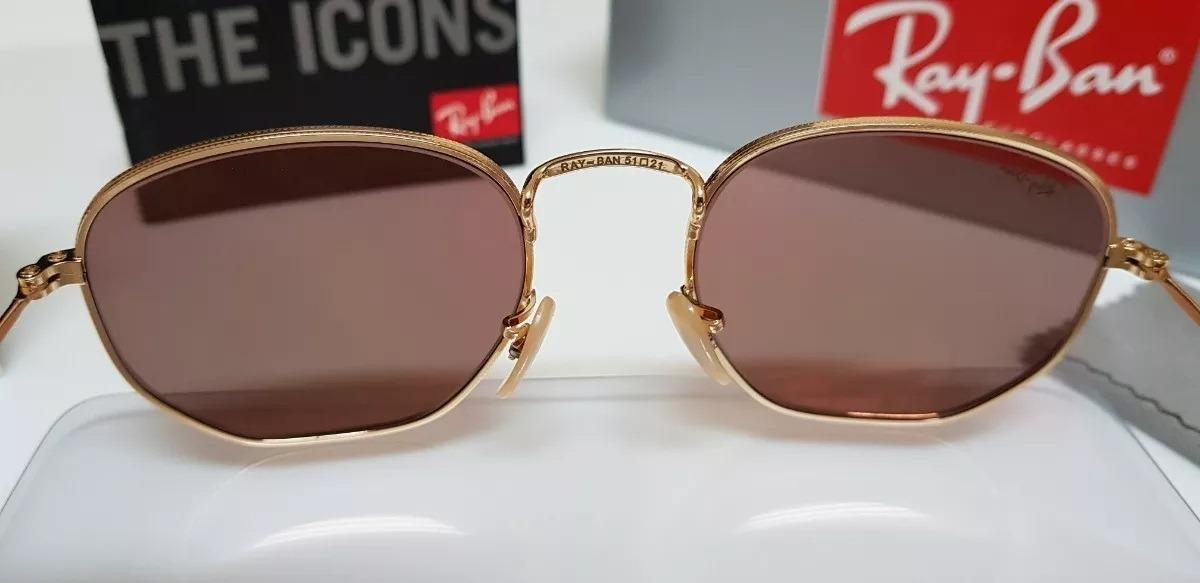 b9871d6081e98 óculos de sol ray ban hexagonal rb3548 rosê quadrado. Carregando zoom.