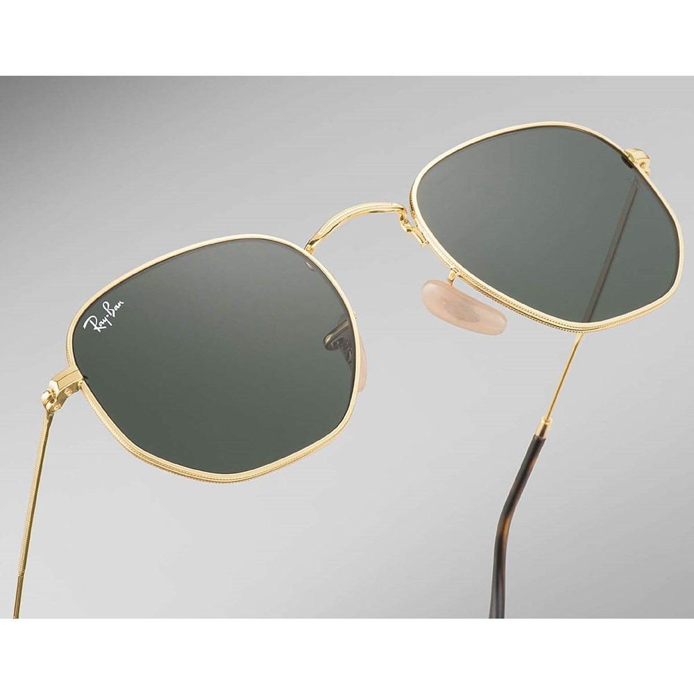 c945cddf24 Óculos De Sol Ray-ban Hexagonal Rb3548n 001 - Dourado/verde - R$ 543 ...