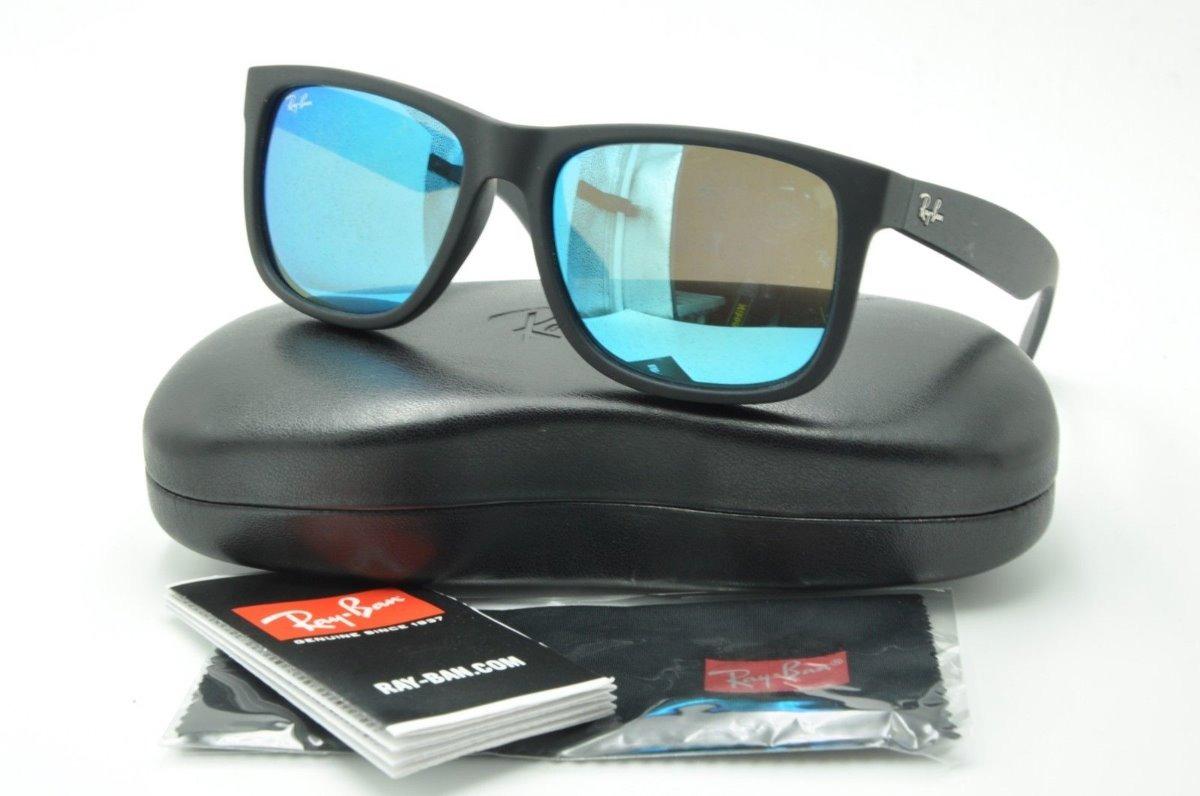 0a0f905e8 óculos de sol ray ban justin rb4165 azul espelhado original. Carregando zoom .