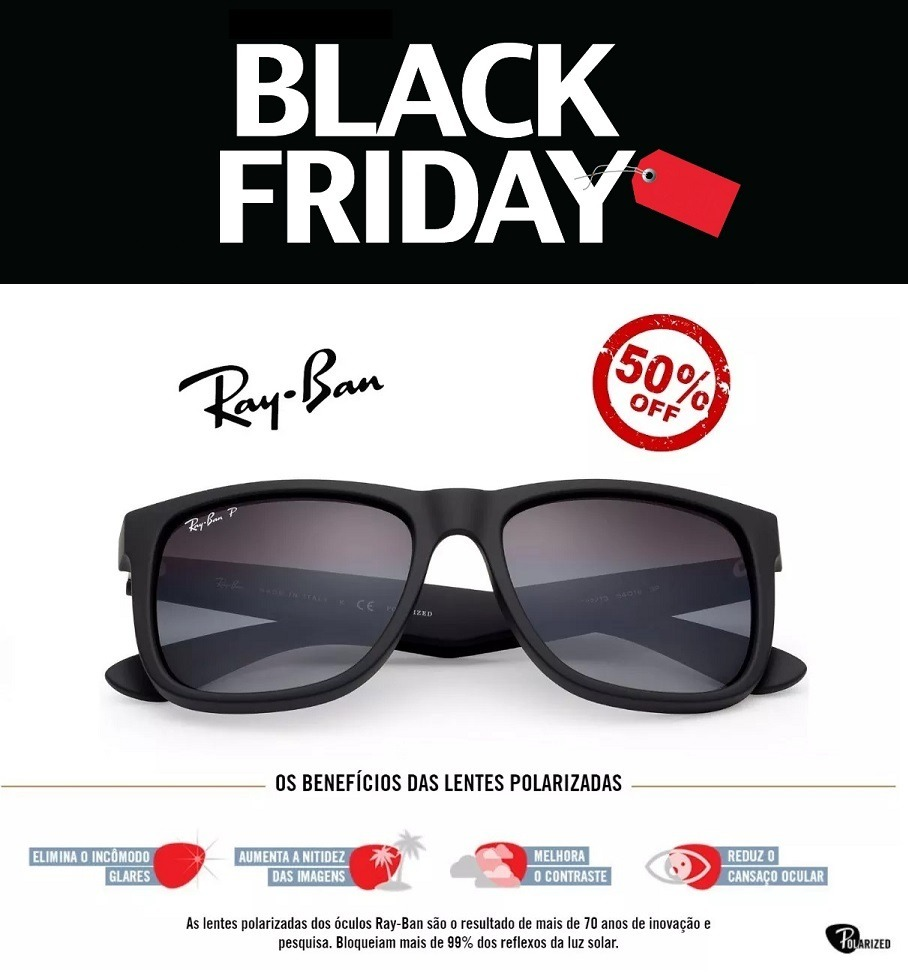5b9dc795b5295 Óculos De Sol Ray Ban Justin Rb4165 Preto Masculino Polariza - R  58 ...