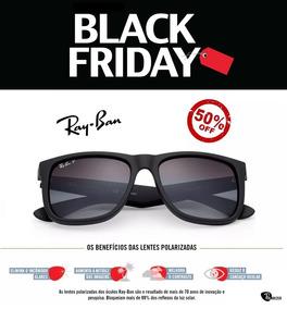 2daf8852e Óculos De Sol Ray Ban Justin Rb4165 Preto Masculino Polariza