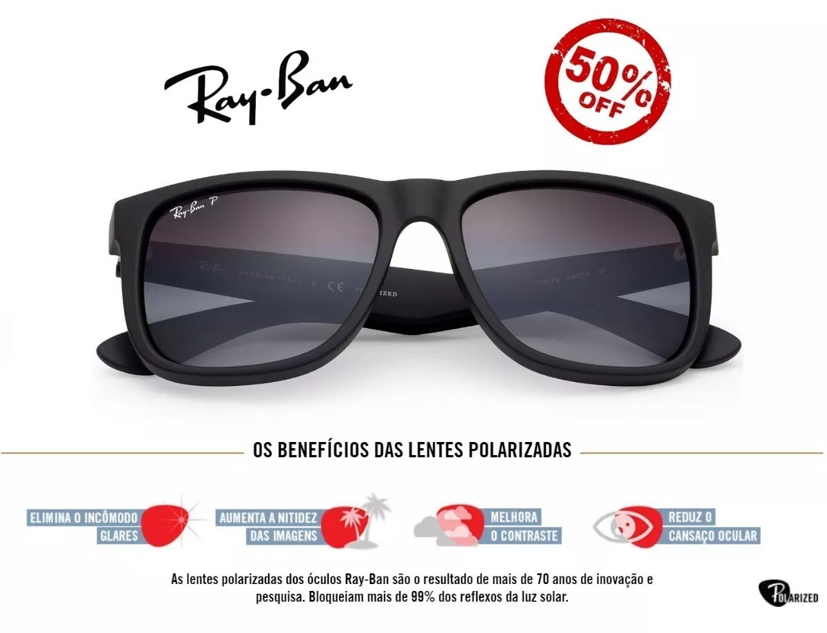 059d331c1f48c óculos de sol ray ban justin rb4165 preto masculino polariza. Carregando  zoom.