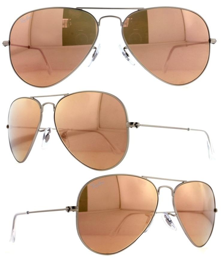 4902e3be812a3 Óculos De Sol Ray Ban Rb3025 Prata Rose Espelhado - R  249,00 em ...