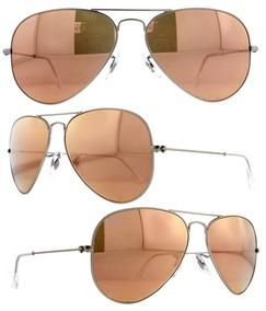 8296b0234 Oculos De Sol Espelhado Rose Gold Ray Ban Round - Óculos no Mercado Livre  Brasil