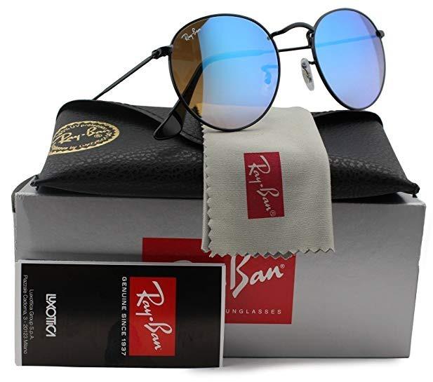 Oculos De Sol Ray Ban Rb3447 Round Gradiente Redondo Azul - R  221 ... e53b5e5473