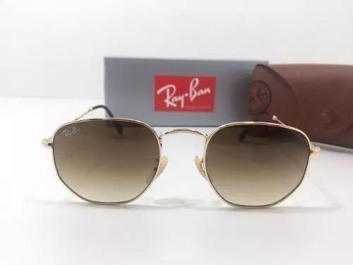 7bc80c70ec285 Óculos De Sol Ray Ban Rb3548n 001 Hexagonal Marron Degradê - R  197 ...
