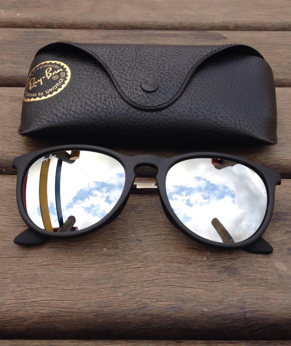 464902dc2 óculos de sol ray-ban rb4171 erika original preto espelhado. Carregando zoom .