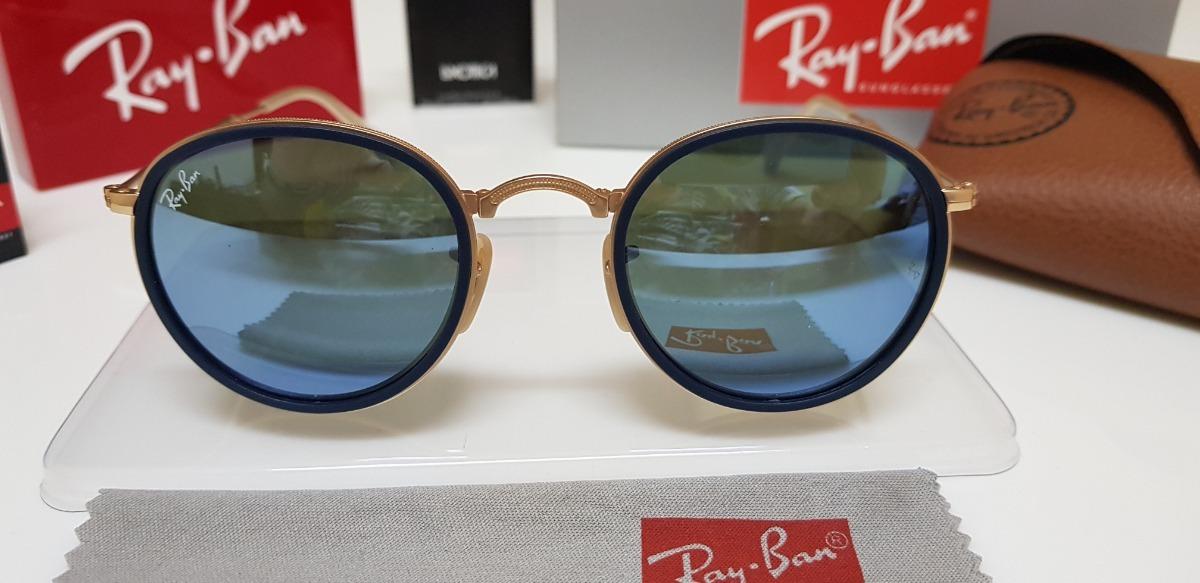 óculos de sol ray-ban round dobrável rb3517 azul espelhado. Carregando zoom. efac10ba0a