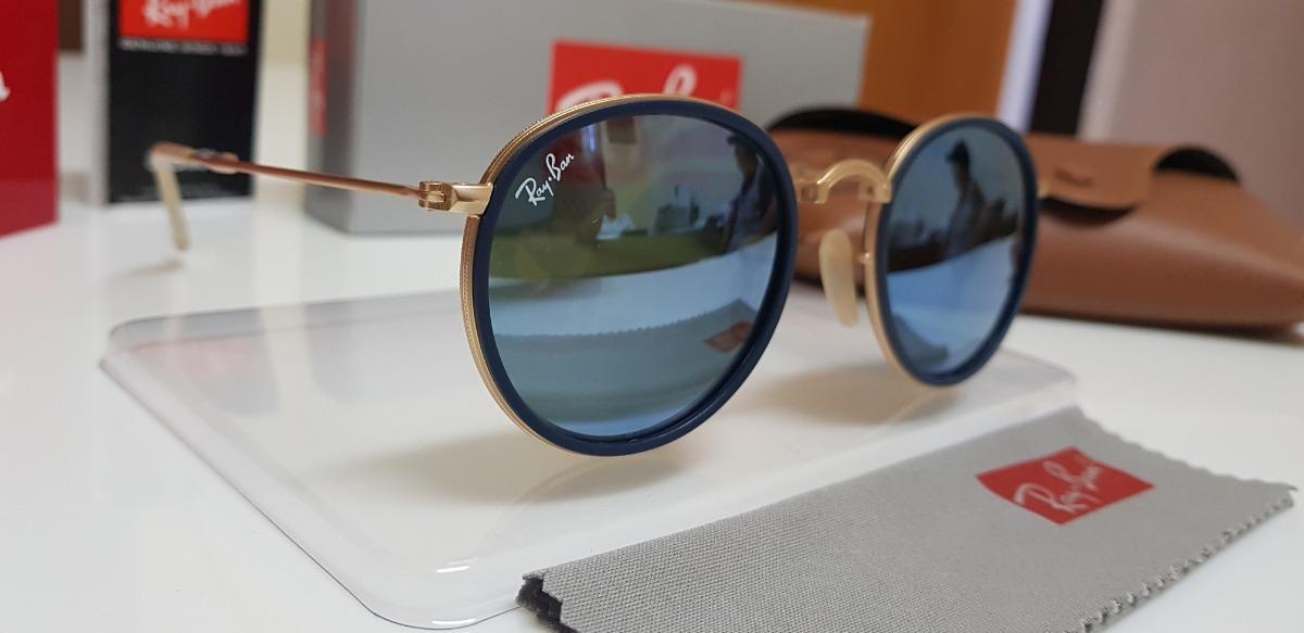 Óculos De Sol Ray-ban Round Dobrável Rb3517 Azul Espelhado - R  360,00 em  Mercado Livre ef1acebb06