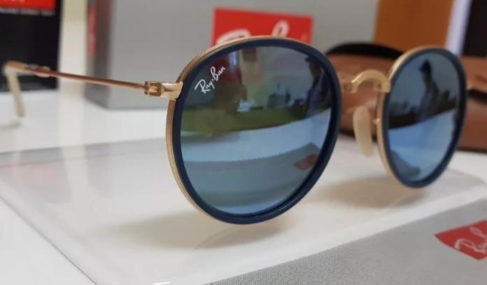 38bc572bc Óculos De Sol Ray Ban Round Dobrável Rb3517 L Azul Espelhado - R ...
