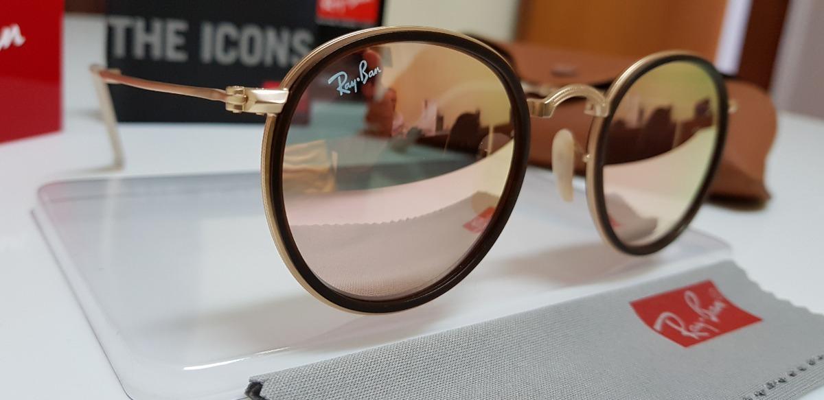 c9cf232466560 óculos de sol ray-ban round dobrável rb3517 rosê espelhado. Carregando zoom.