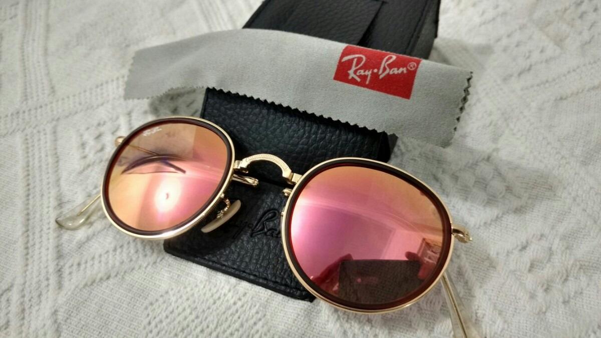 óculos de sol ray ban round dobravel rose barato promoção. Carregando zoom. a538373cfa
