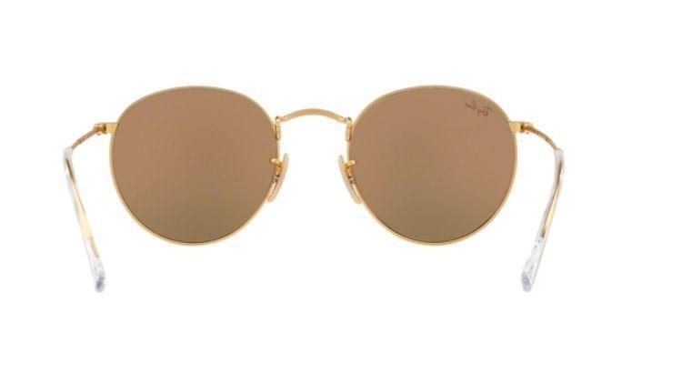 Oculos De Sol Ray Ban Round Dourado Lente Rosa Espelhada - R  449,00 ... 06731bd2f8
