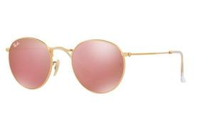 503bfe6e1 Oculos De Sol Ray Ban Round Dourado Lente Rosa Espelhada. R$ 529