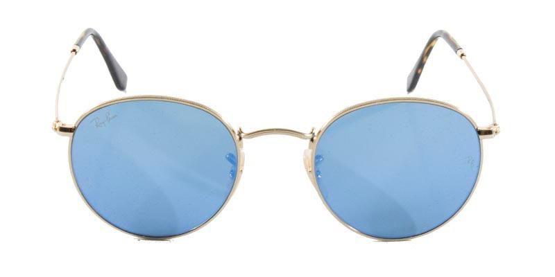 Óculos De Sol Ray Ban Round Metal Rb3447 Ouro Lente Azul Es - R  499 ... 0eca24c0dc