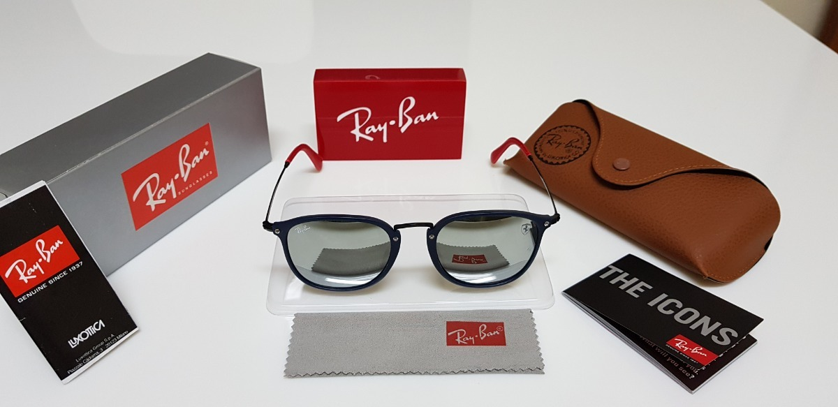 óculos de sol ray-ban scuderia ferrari rb2448 azul e prata. Carregando zoom. e6ea6a92af