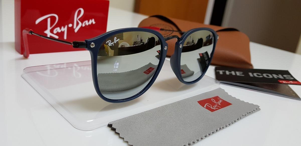 36c1cafa6cd0e óculos de sol ray-ban scuderia ferrari rb2448 azul e prata. Carregando zoom.