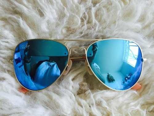 d2305e89370d6 Óculos De Sol Ray Ban Top Aviador Espelhado Azul Rb3026 - R  219