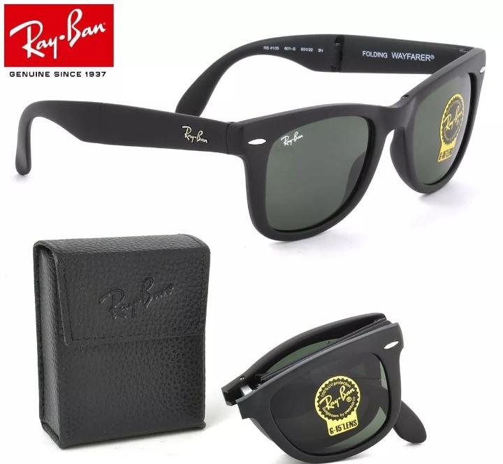 6533989d0 Oculos De Sol Ray Ban Wayfarer Folding Dobravel Rb4105 Preto - R ...