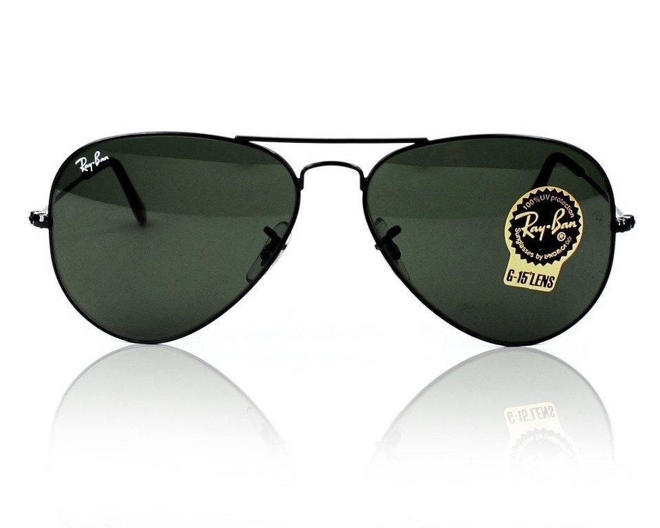 Oculos De Sol Rayban Aviador Preto Lente Cristal - R  78,80 em ... e011aff037