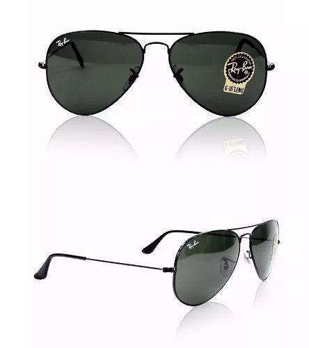 73fa842bf Óculos De Sol Rayban Aviator Unissex Tam.58 Ou 55 Preto - R$ 268,79 em  Mercado Livre