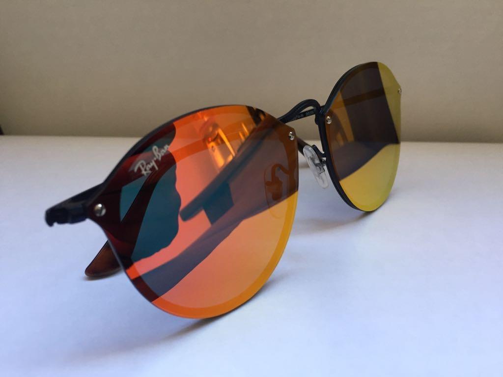 óculos de sol rayban blaze round preto vermelho espelhado. Carregando zoom. 213c435cd5