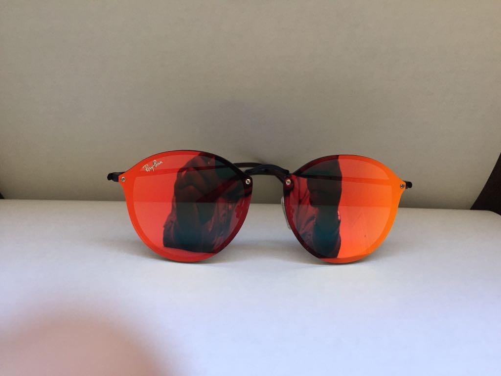 684070cbe38c7 óculos de sol rayban blaze round preto vermelho espelhado. Carregando zoom.