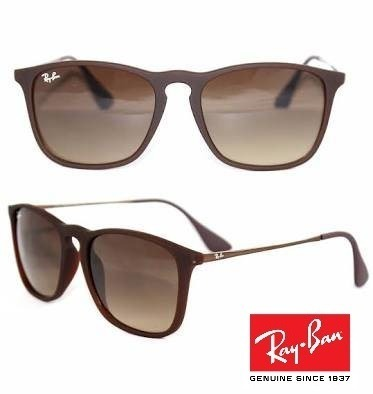 5de2d91618195 Óculos De Sol Rayban Chris Rb4187 Marrom Emborrachado - R  121,80 em ...