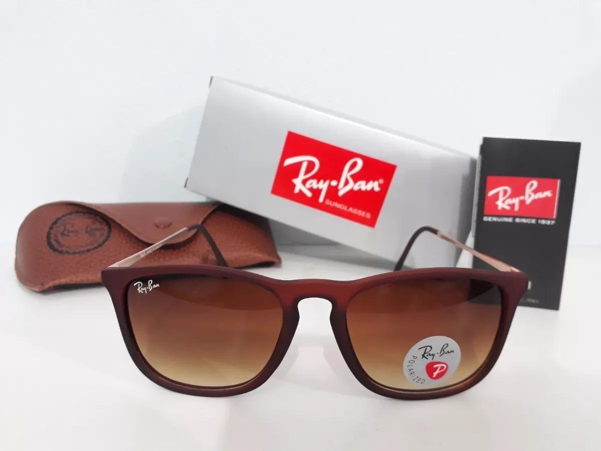 eba40f84442c6 óculos de sol rayban chris rb4187 marrom emborrachado. Carregando zoom.