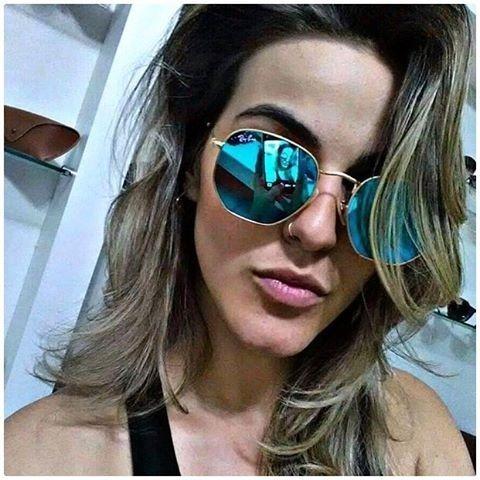 Oculos De Sol Rayban Hexagonal Lente Azul   Frete Gratis - R  129,80 ... e9eec825e6