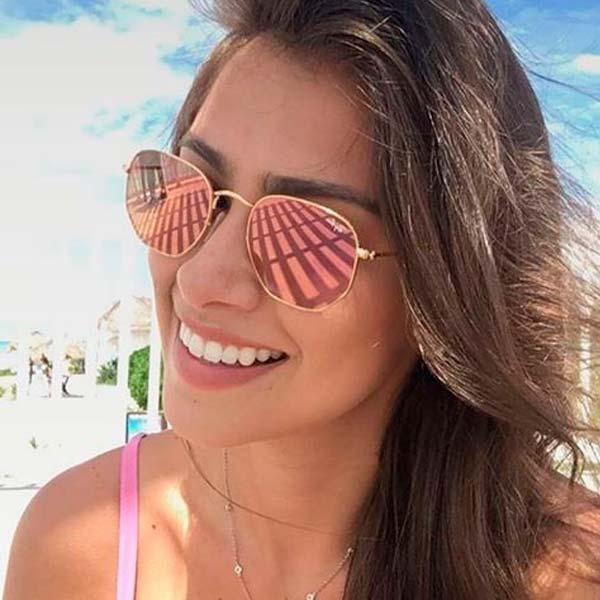 51c79e595 Oculos De Sol Rayban Hexagonal Lente Rose / Frete Gratis - R$ 129,80 ...