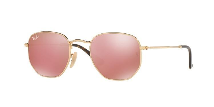 Óculos De Sol Rayban Hexagonal Rb3548 Dourado Rosa Espelhado - R ... 2827464b83