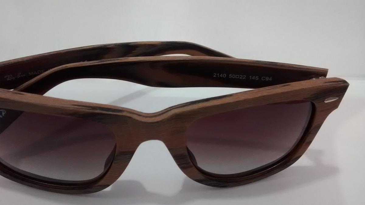 a8918248dbcdc oculos de sol rayban madeira wayfarer lente marrom degradê. Carregando zoom.