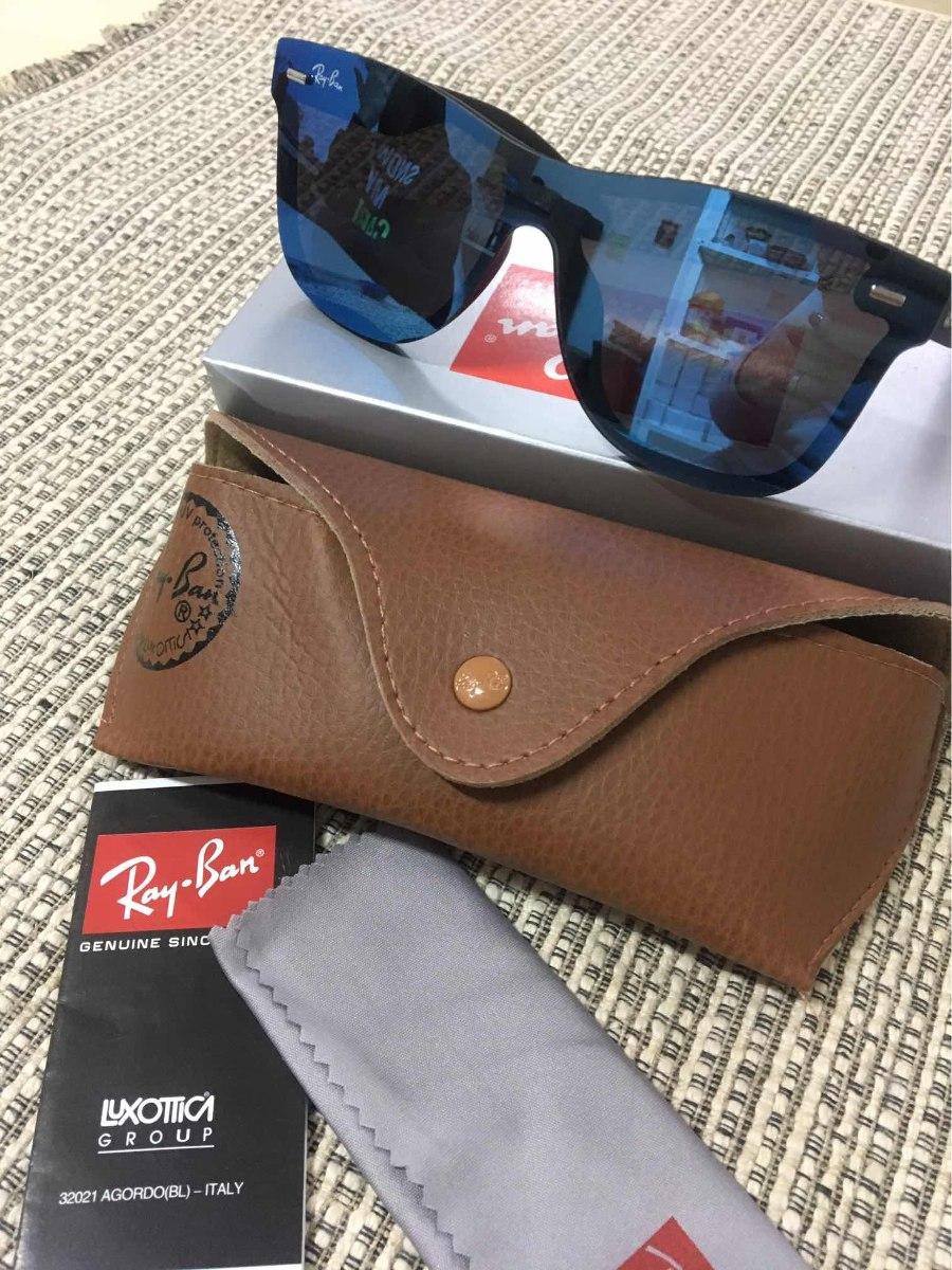 cd0b4b462 Oculos De Sol Rb Clubmaster Preto Com Azul Espelhado - R$ 160,00 em ...